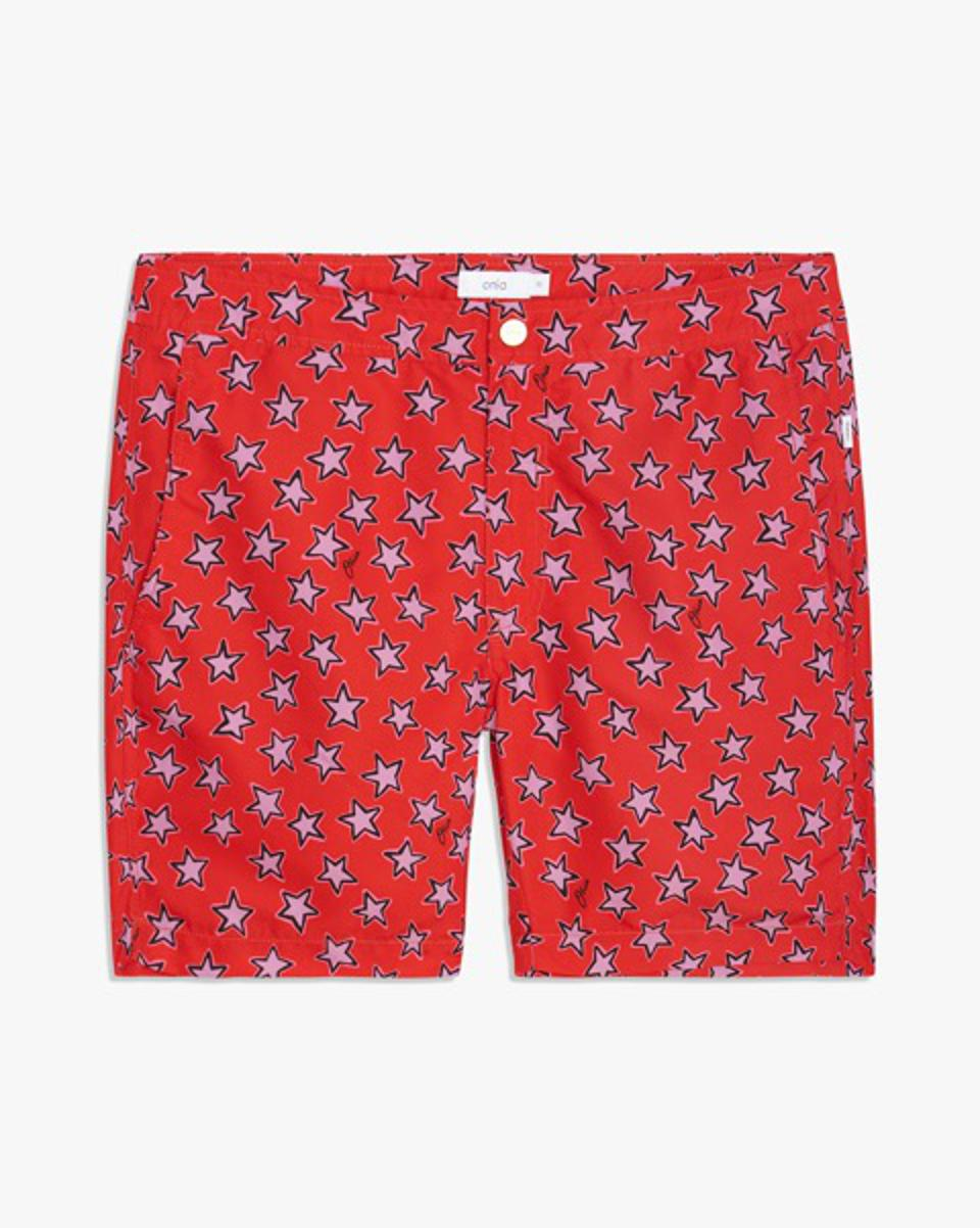 "The iconic Onia Calder 7.5"" Swim Trunks return in festive Stars print as the perfect piece for all of your backyard barbecues and beach day celebrations this July 4th."