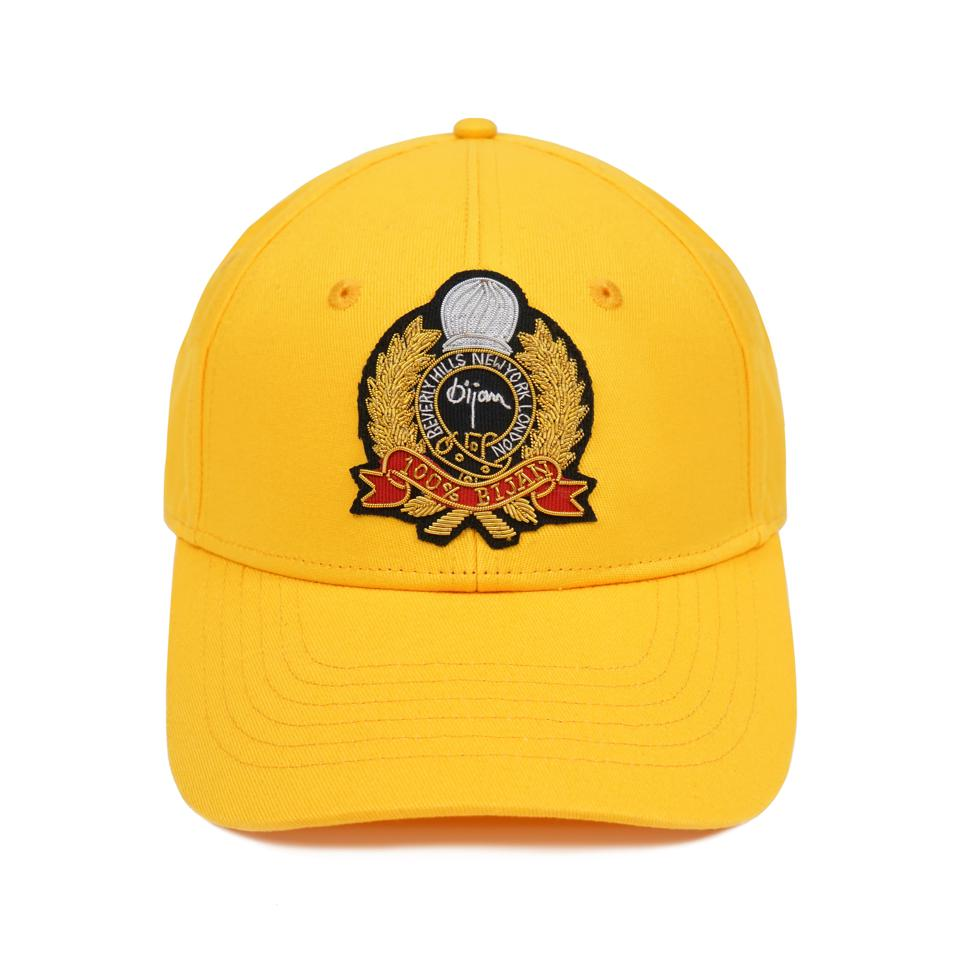Bijan Crest Cap with handmade gold metallic embroidered crest.