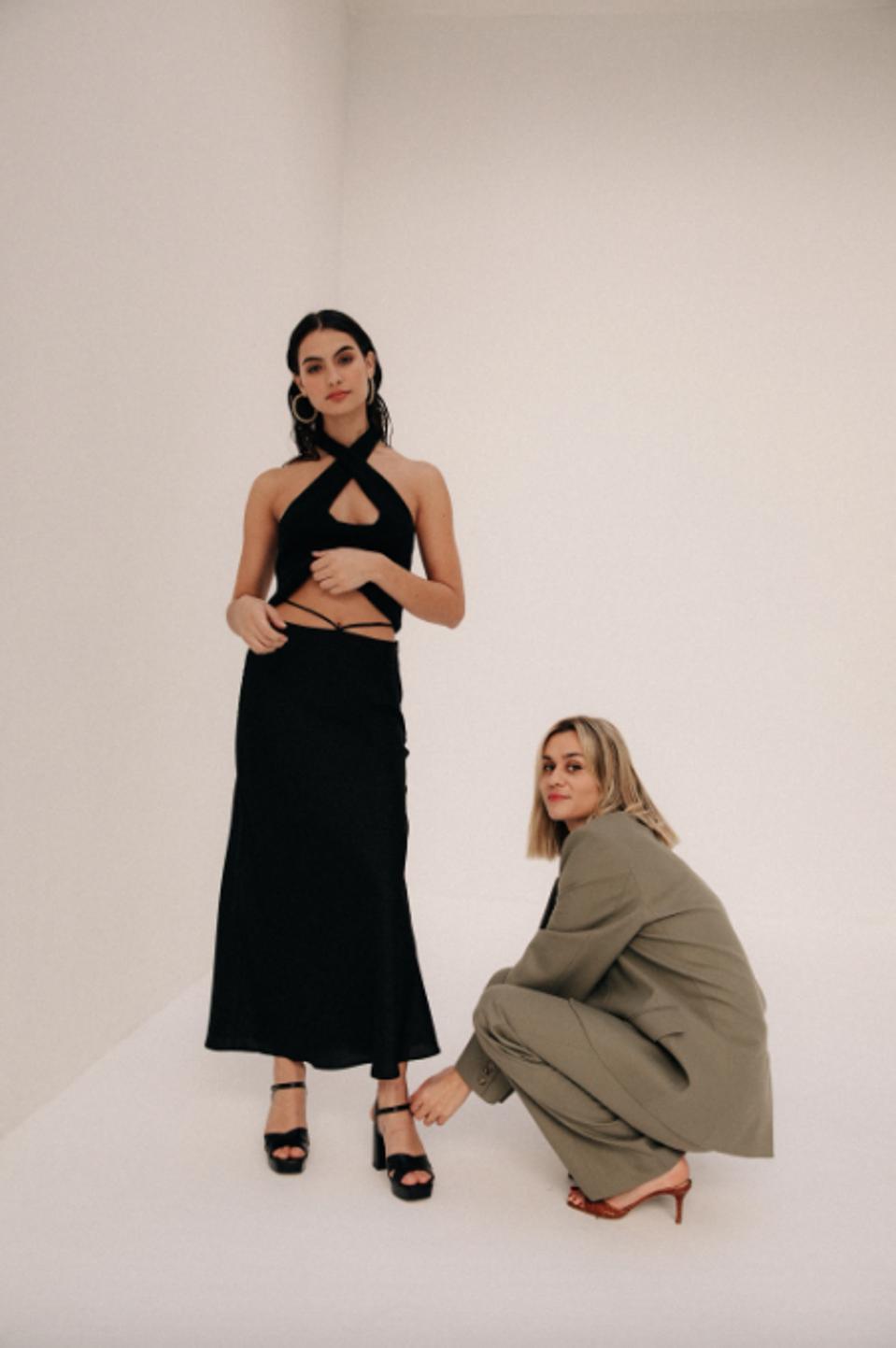 Founder Anne-Laure Mais alongside a Musier Paris model.