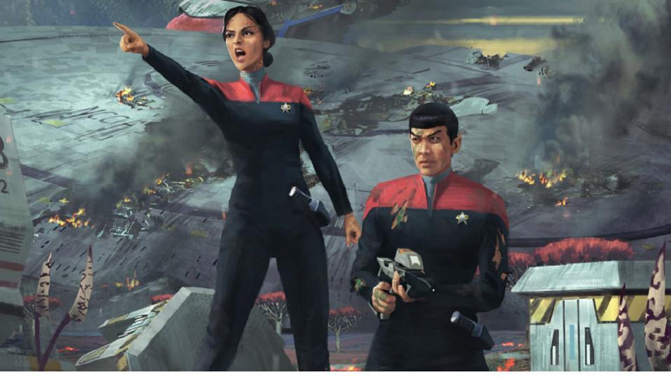 Starfleet officers on an adventure.