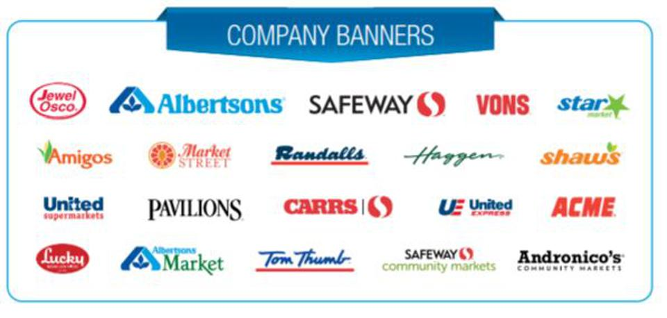 Albertsons is home to more than a dozen regional grocery brands including Jewel Osco, Vons, Safeway, Randalls, Pavillions and Tom Thumb.