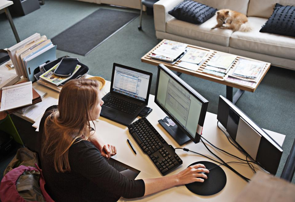 Overview of woman working at office computer