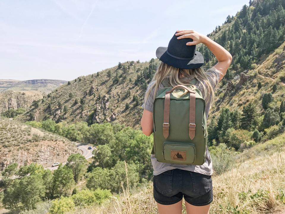 backpack on female hiker