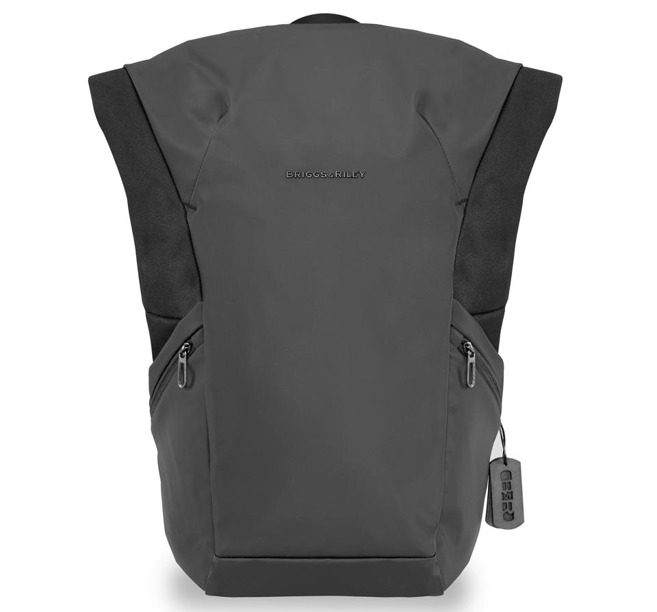 gray roll-top backpack