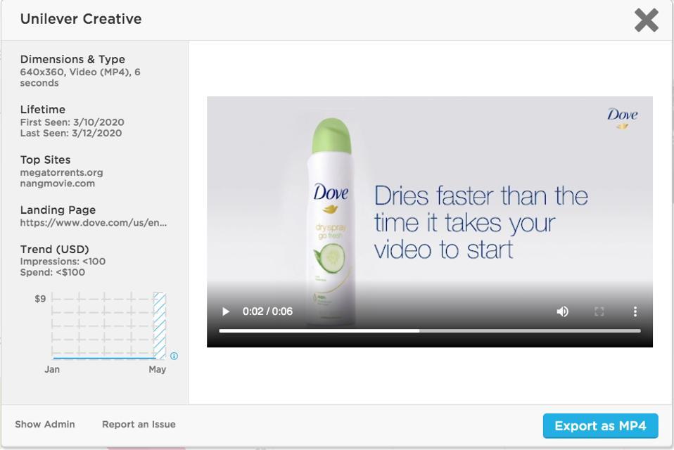 Unilever's Dove brand video ad on piracy sites