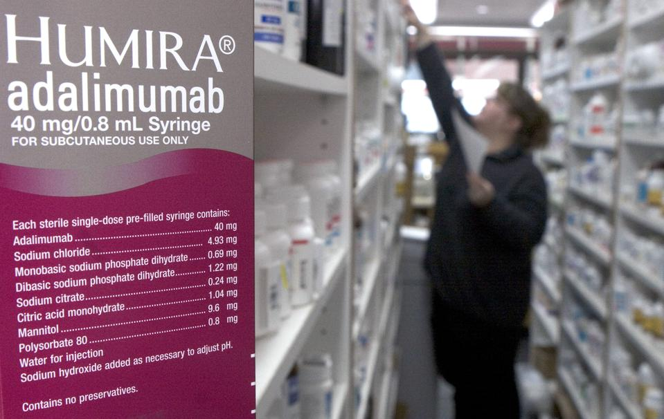 Humira, the injectable rheumatoid arthritis treatment is pictured in a pharmacy in Cambridge, Massachusetts
