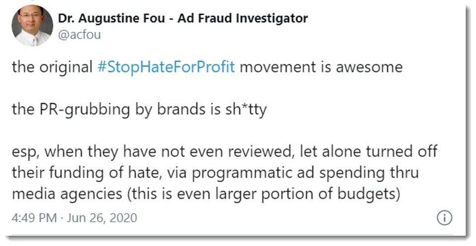 tweet about stophateforprofit movement