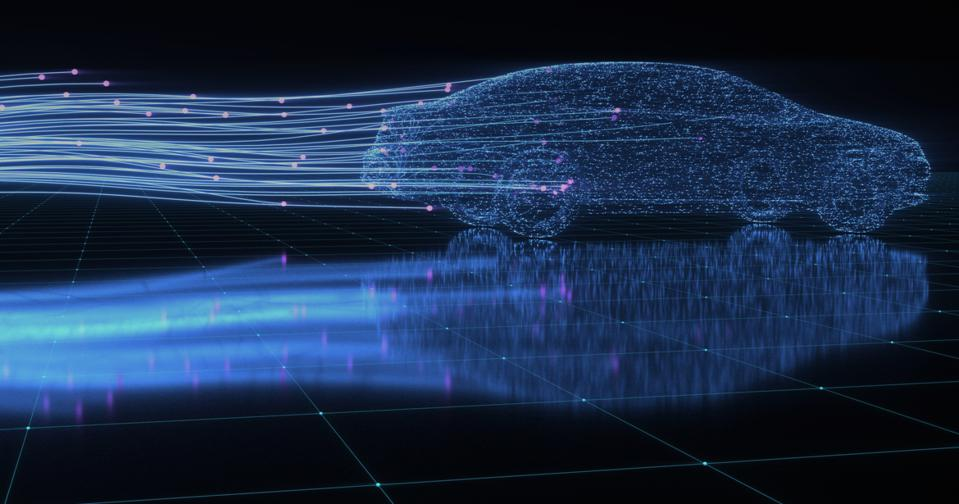 Computer-generated image of a connected car