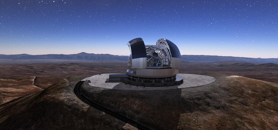 The Cerro Armazones mountain in the Chilean desert, near ESO's Paranal Observatory, will be the site for the European Extremely Large Telescope (ELT), which, with its 39-metre diameter mirror, will be the world's biggest eye on the sky. Here, an artist's rendering shows how the telescope will look on the mountain when it is complete.