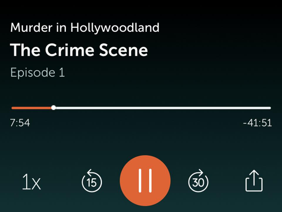 Screenshot of the Wondery App playing Murder in Hollywoodland