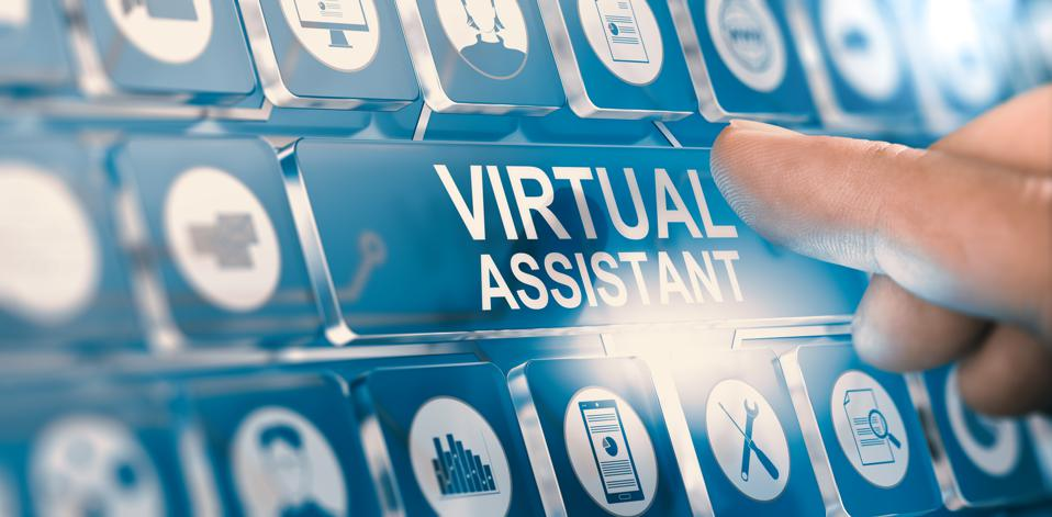 A person pressing the virtual assistant button to get help with personal services.