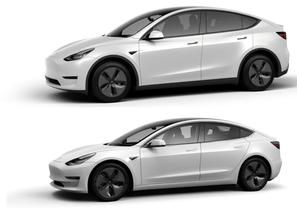 Tesla Model Y (top) and Model 3.