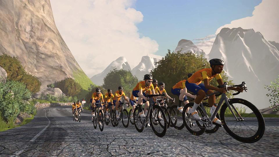 A screenshot of cycling application Zwift.