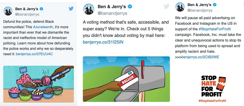 Titter Messaging To Affect Change: https://www.benjerry.com/values