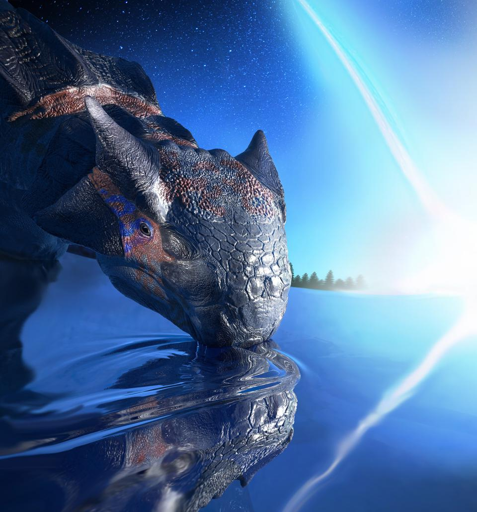 An individual of Ankylosaurus magniventris, a large armoured dinosaur species, witnesses the impact of an asteroid, falling on the Yucatán peninsula 66 million years ago. Not even its large size and thick armour sheltered its kind from the violence of this cosmic disaster.