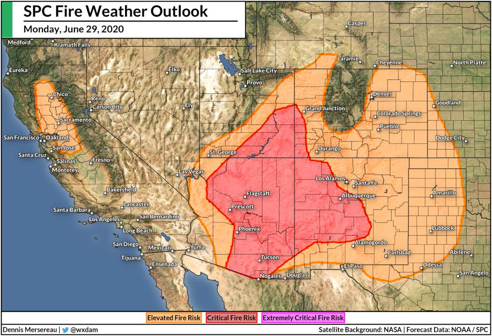 The Storm Prediction Center's fire weather outlook for Monday, June 29, 2020.