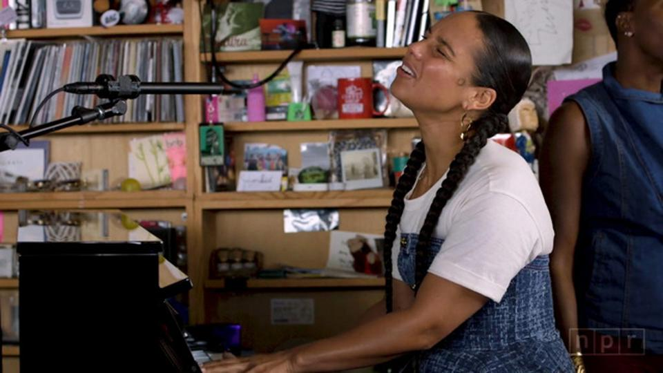 Alicia Keys at the piano for her NPR Tiny Desk Concert