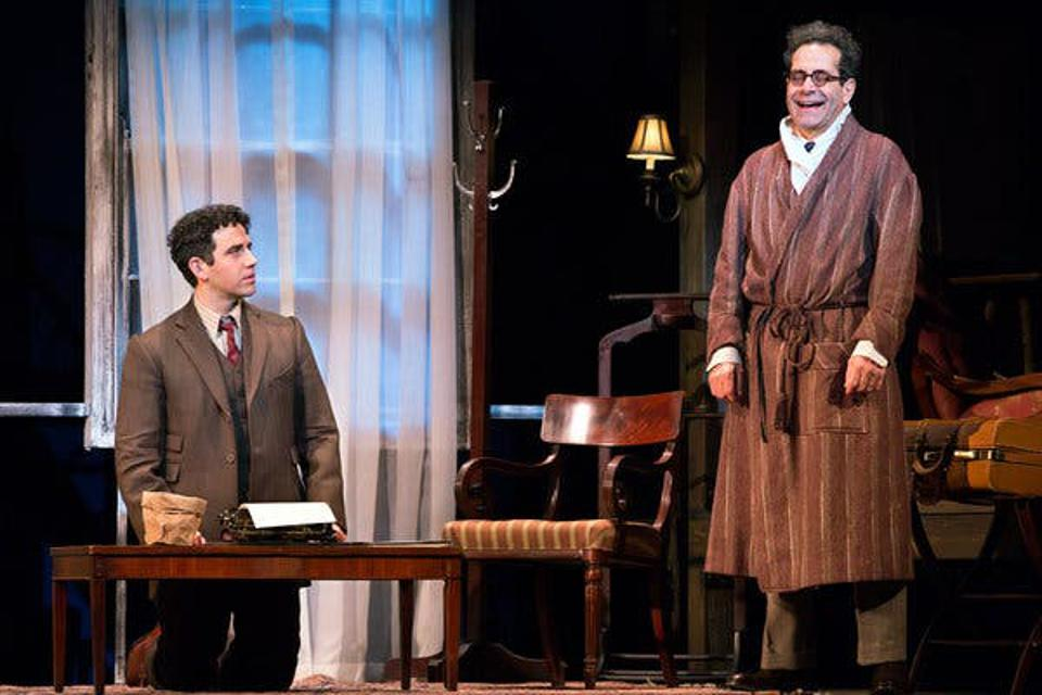 Tony Shalhoub as George S. Kaufman at work with Santino Fontana as Moss Hart in ″Act One″
