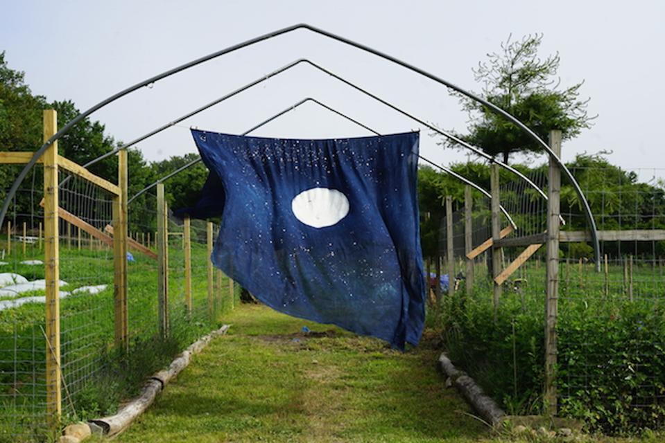 Miya Ando's Moon Meditation Hut 2020, Indigo on linen 10 x 10, Installation View, Infinite Seed.