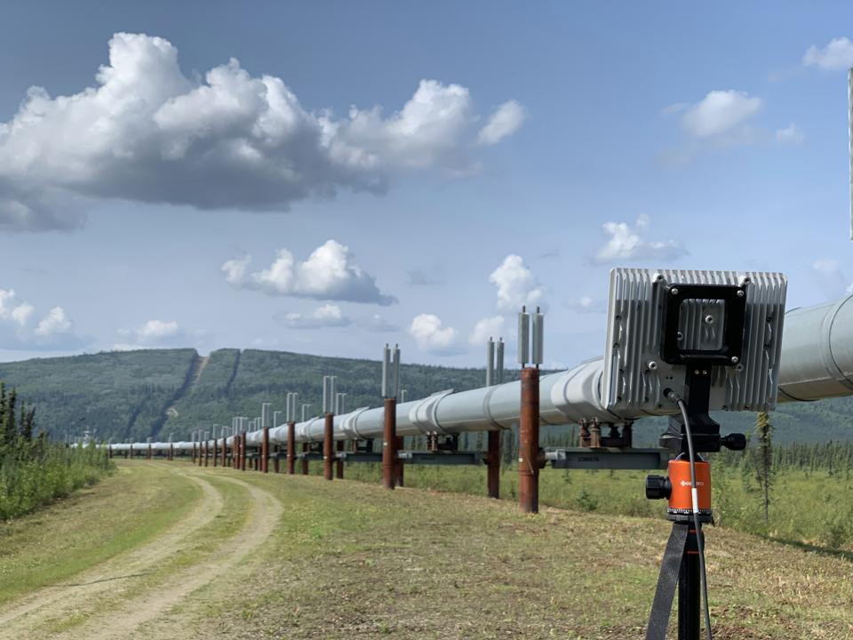 Small flat-panel Echoguard radar installed to overlook a pipeline in rural Alaska.