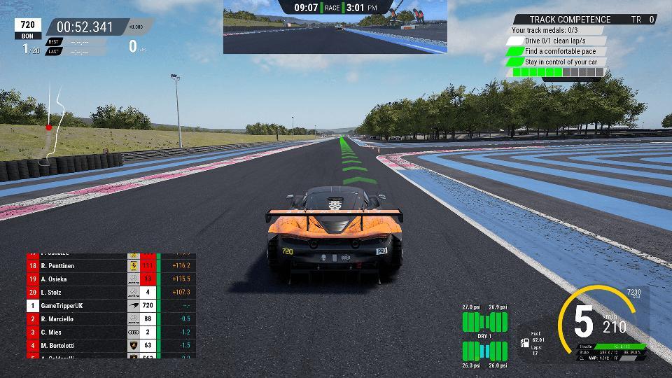 Behind a car in Assetto Corsa Competizione
