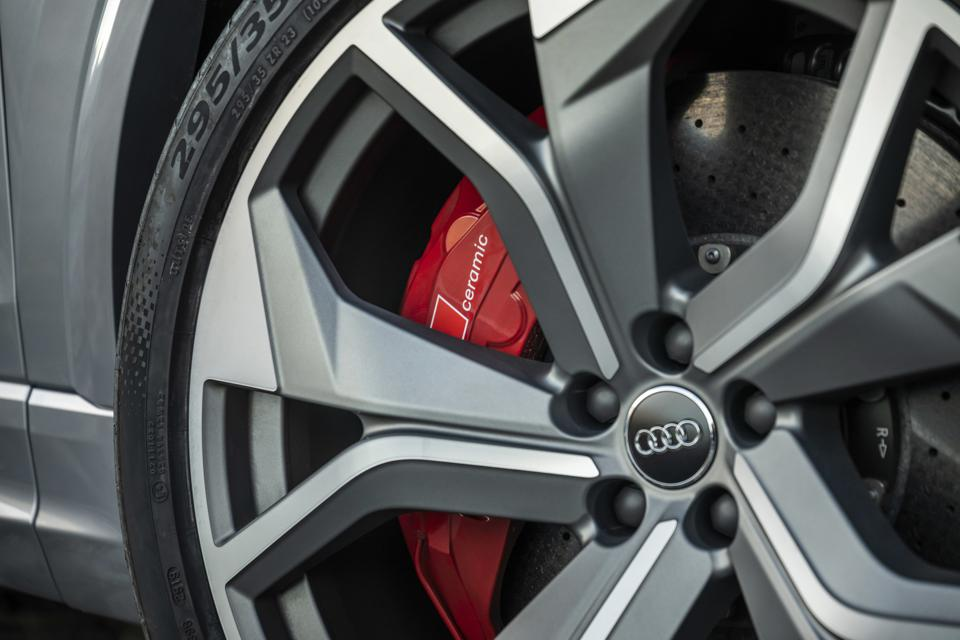 Enormous 23-inch wheels and tyres, carbon-ceramic brakes and a high-tech suspension.