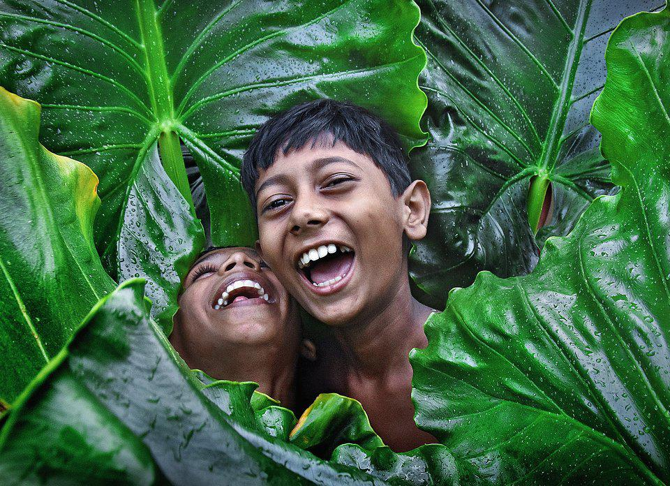 two boys laughing surrounded by big green leaves