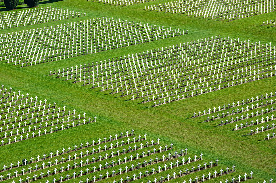 white crosses at military cemetery in Verdun, France