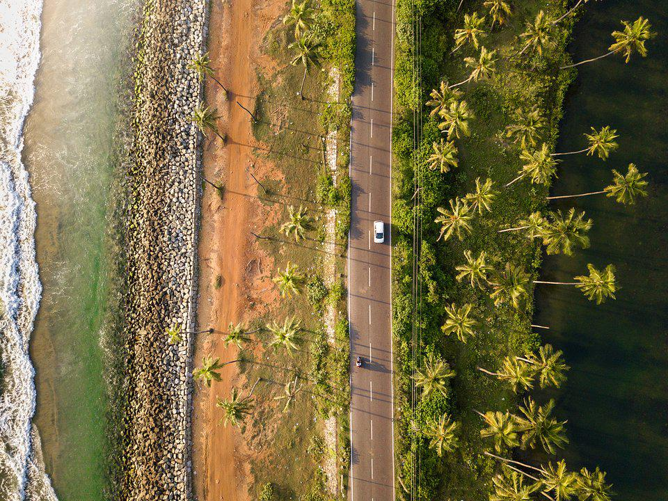 road along a coast in south India