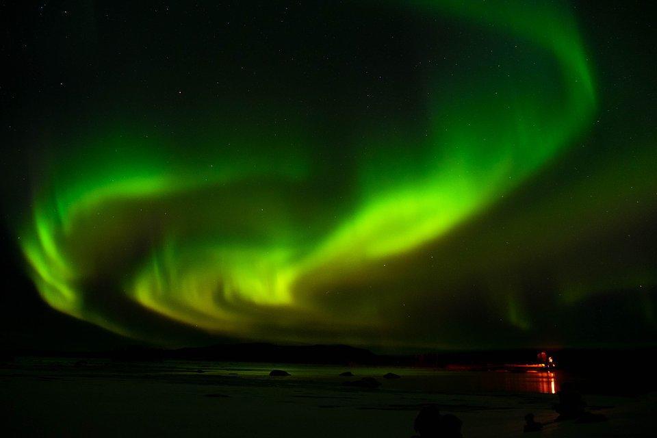 =the northern lights at Arjeplog frozen lake, Sweden