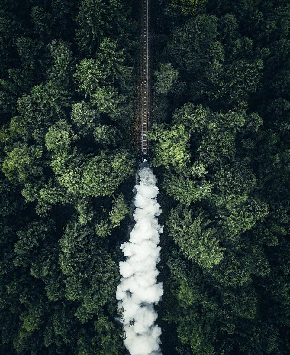 An old train crossing  the woods in Germany