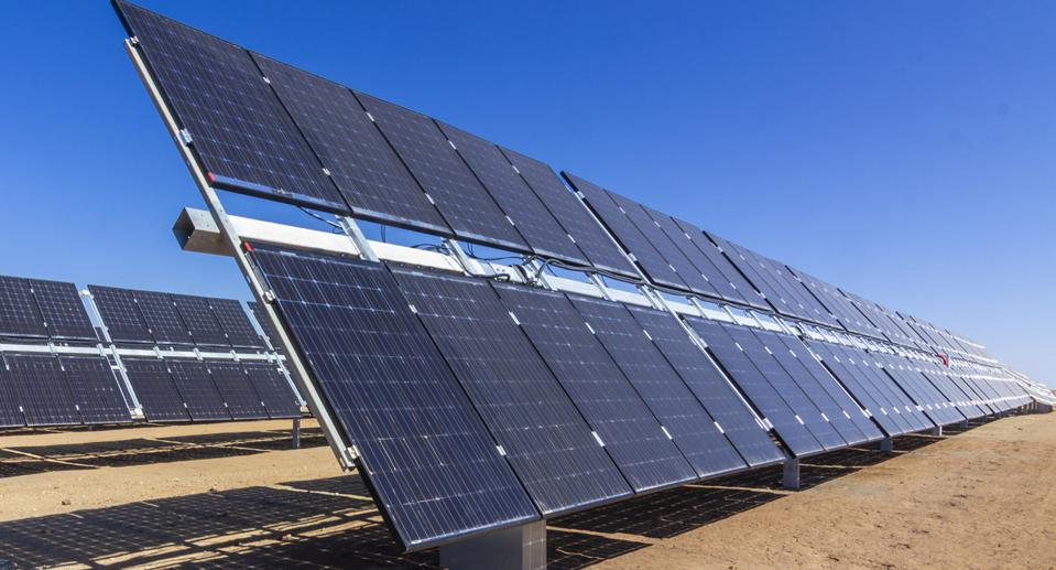 La Silla Observatory in the Atacama Desert, Chile, has rows of bifacial solar panels