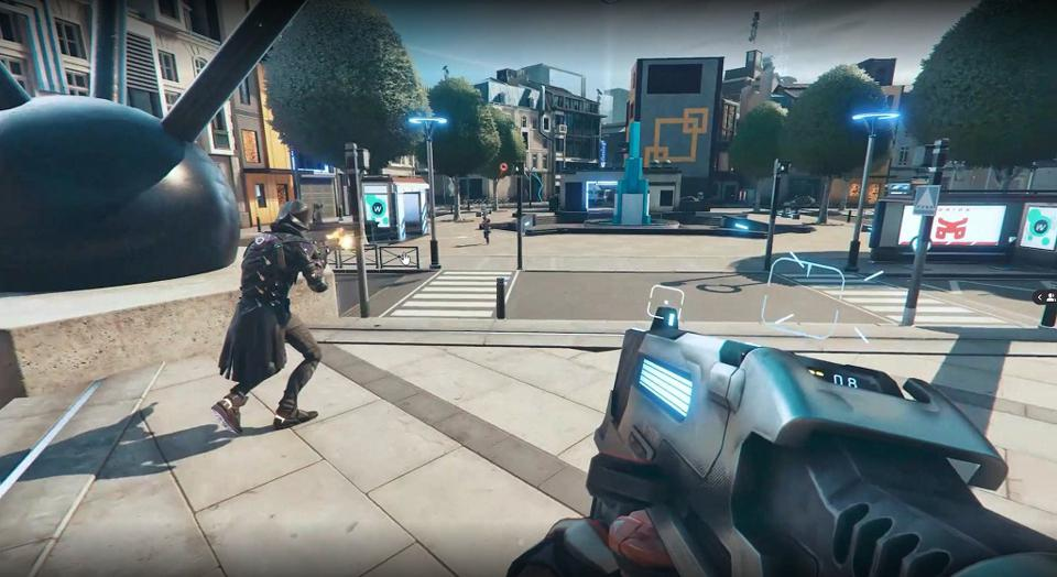 A screenshot of a futuristic first-person-shooter suggested to be Hyper Scape.