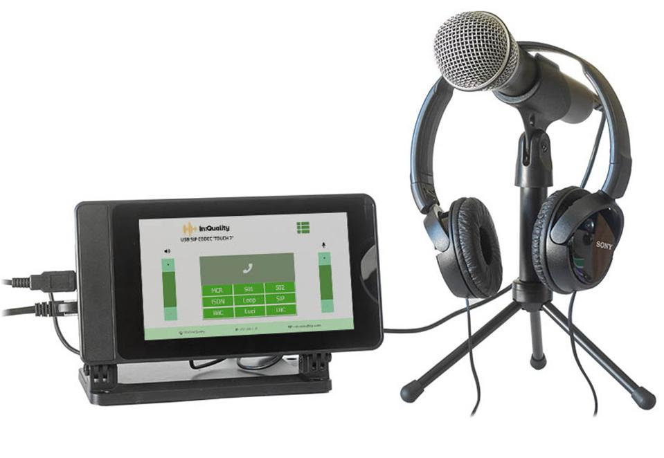 In:Qulaity Despatch Box USB SIP Codec with microphone and headphones.