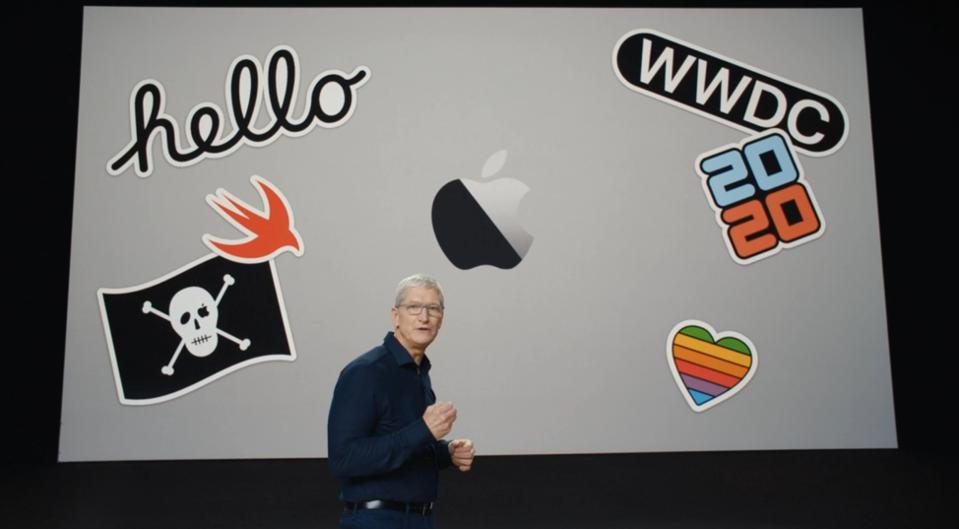 Screen capture of Apple CEO Tim Cook, from the company's digital WWDC event.