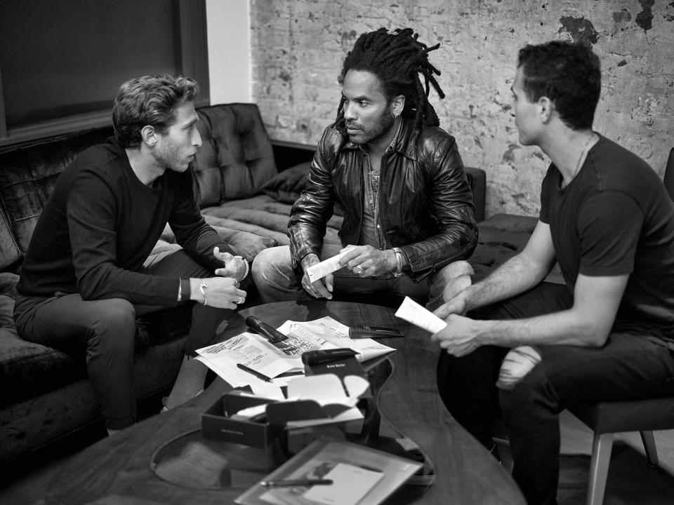 Twice cofounders Cody Levine, Lenny Kravitz and Julian Levine, Photo Credit: Mark Seliger