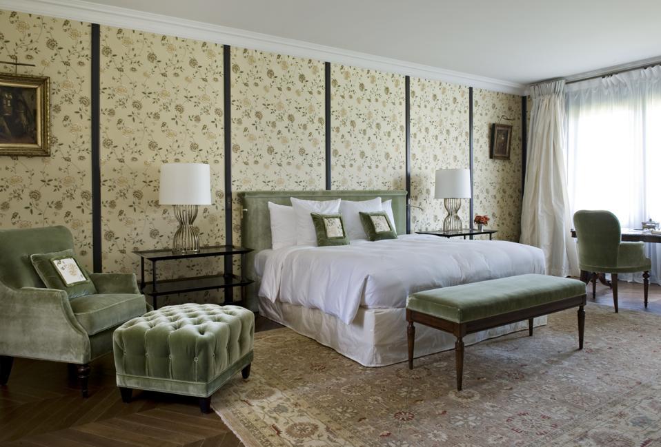A luxurious bedroom at La Chartreuse Cos d'Estournel resort.