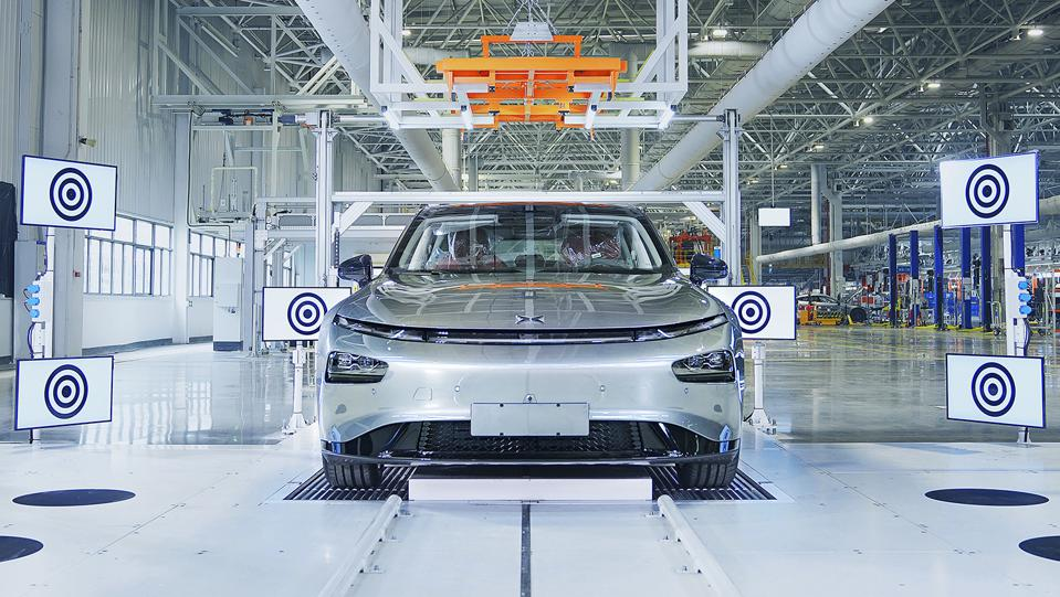 Xpeng P7 Electric Vehicle in Assembly Plant Front View.