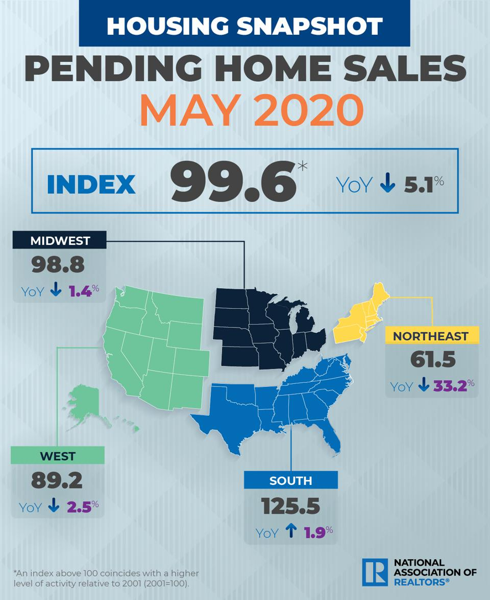 A map of pending home sales May 2020