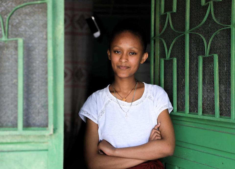 While schools are closed in Addis Ababa, Ethiopia to prevent the spread of COVID-19, 17-year-old Sehinemariam is continuing her education from home using a distance learning plan developed by the government with support from UNICEF.