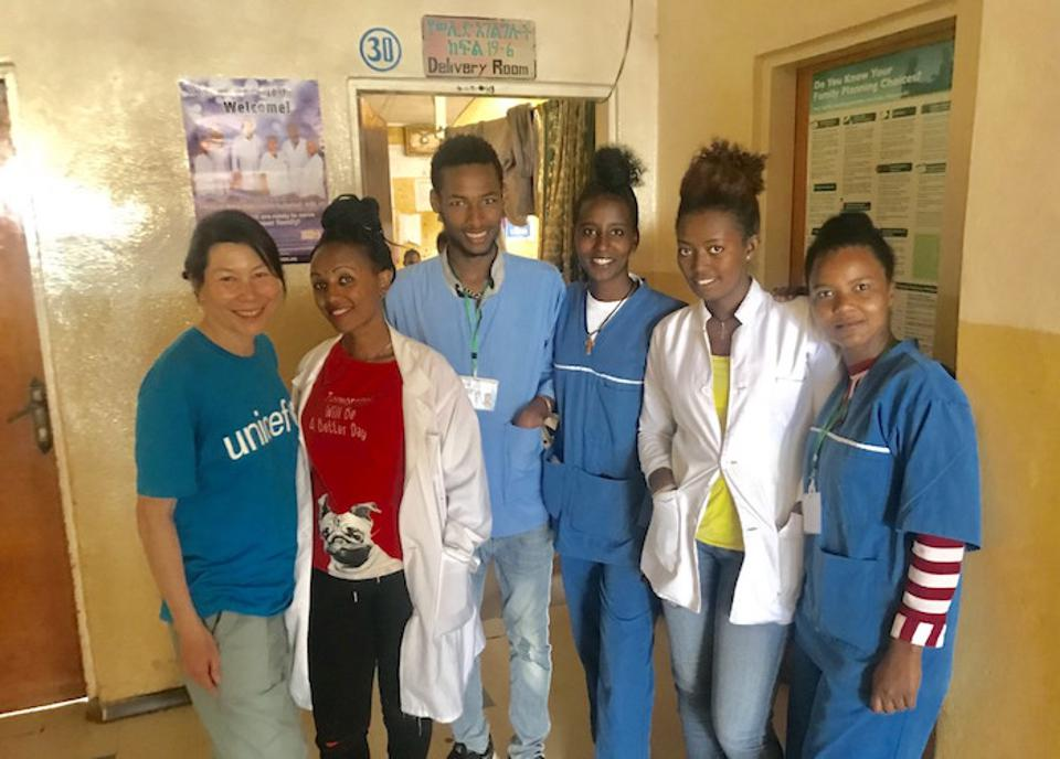 At Gidole Hospital in Southern Ethiopia, Robin Kim (far left) met with with clinicians and midwives on a two-month training program.