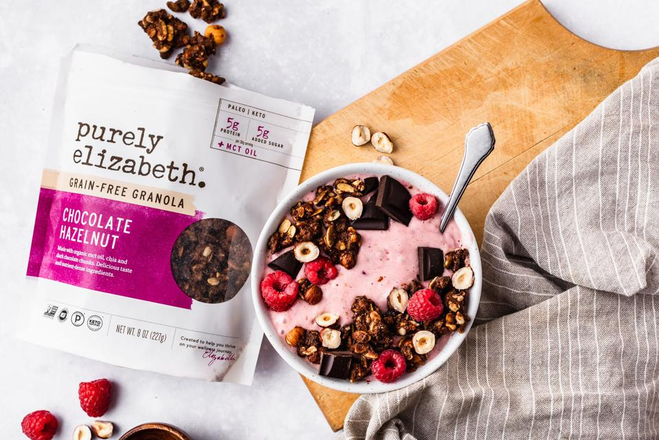 Purely Elizabeth, granola, cereal, yoghurt, fruit, breakfast, yogurt