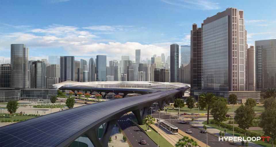 Artist's rendering of an urban Hyperloop station