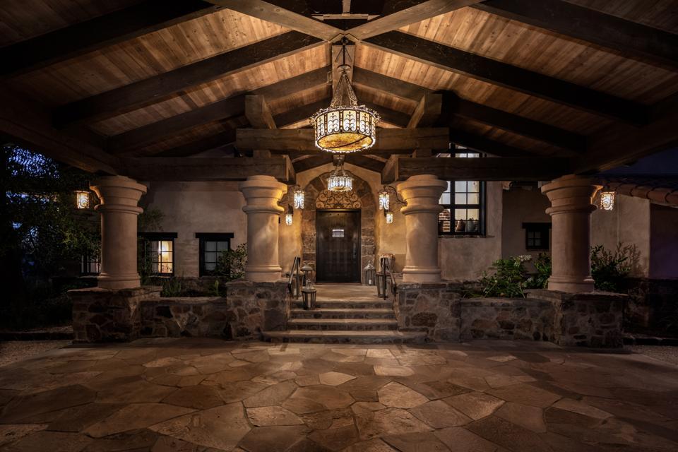Rancho Latigo, Santa Ynez Valley, California, vaulted wood porte-cochère, drum chandeliers,
