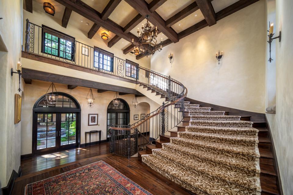 grand staircase, wood-beam ceilings, Rancho Latigo, Santa Ynez Valley, California, Compass