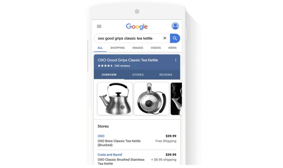 Google app shopping listing