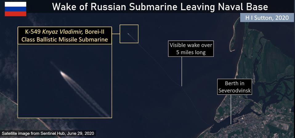 Satellite image of Russian Navy Submarine Prince Vladimir leaving Severodvinsk on June 29