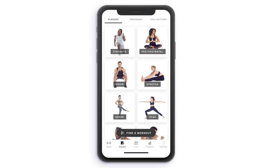 A screengrab of the Mirror workout mobile app.