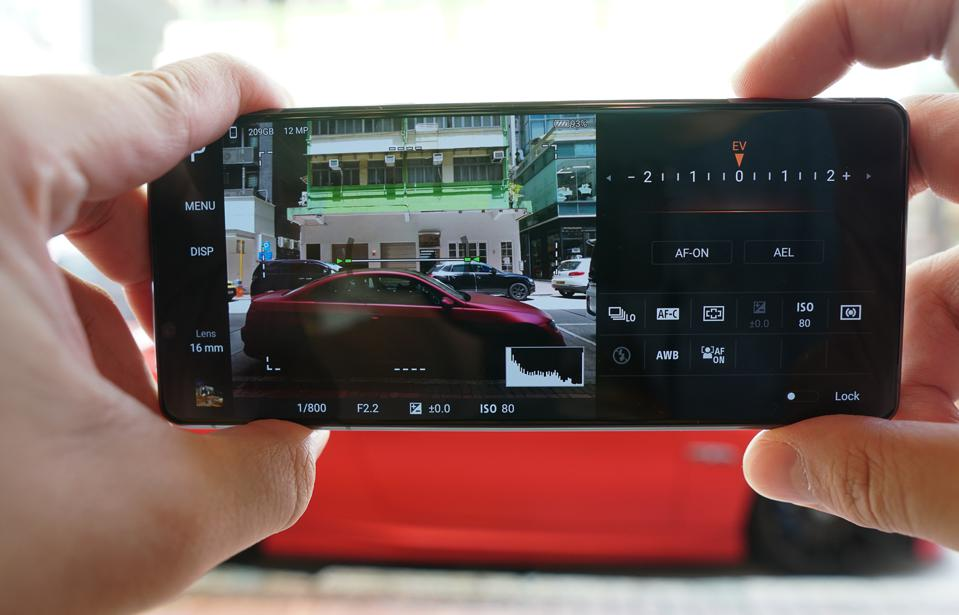 Sony's ″Photo Pro″ camera interface is full of buttons, dials and settings.