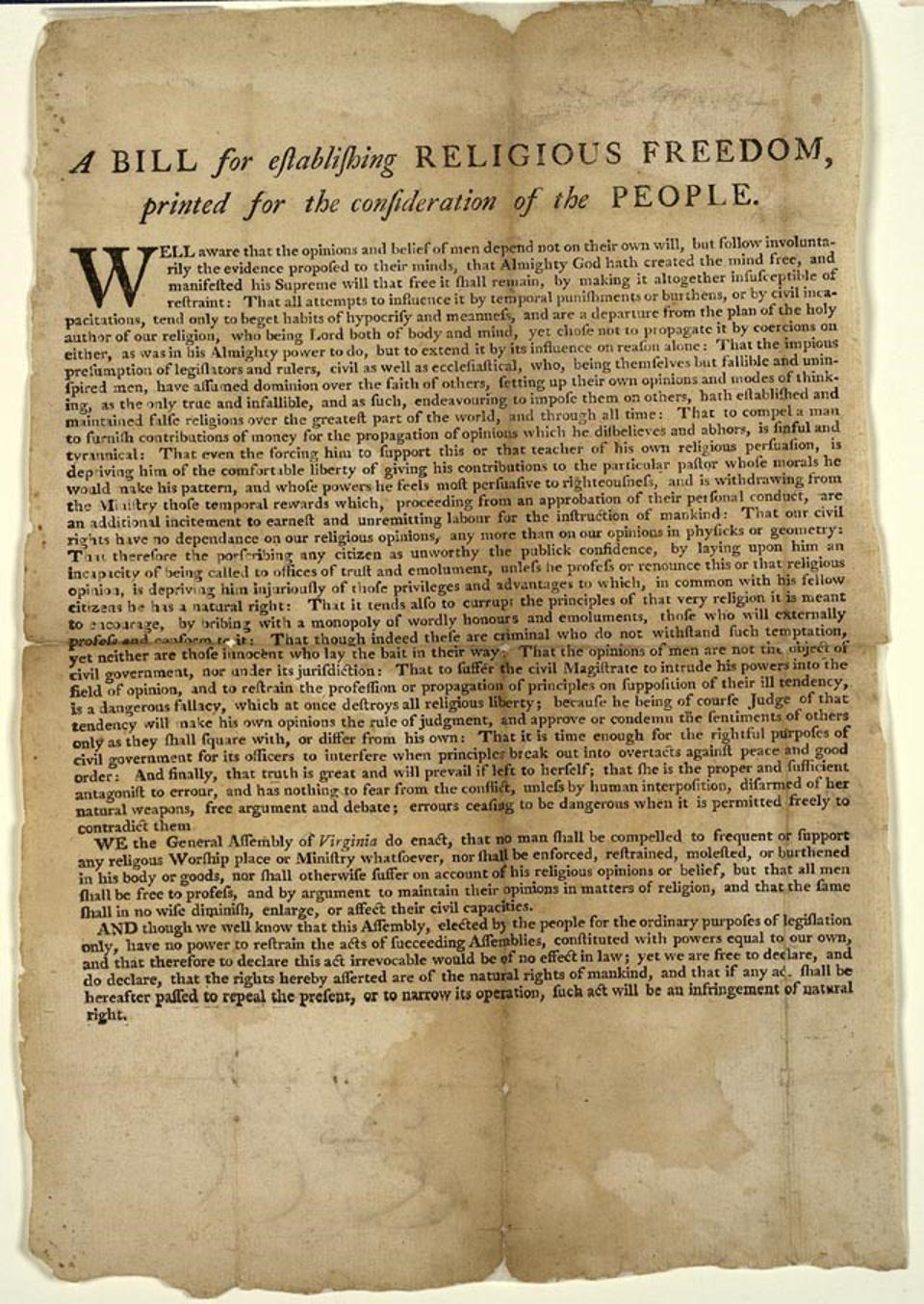 A Bill for the Religious Freedom of the People, penned by Thomas Jefferson in 1786